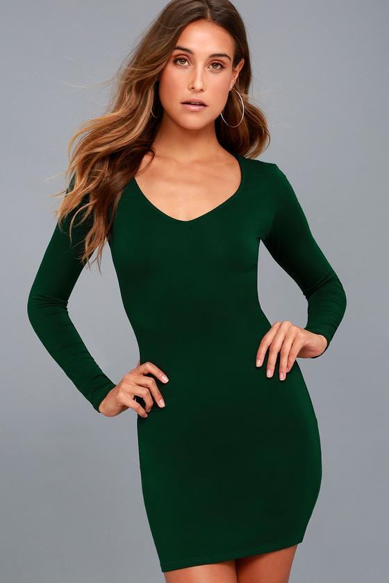 6a43ddeebc25 Sexy Forest Green Dress - Long Sleeve Dress - Bodycon Dress