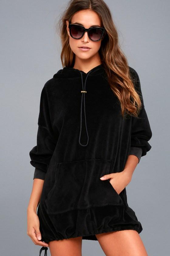 a39e6ee39c2 Project Social T Toggle - Black Velour Dress - Hoodie Dress