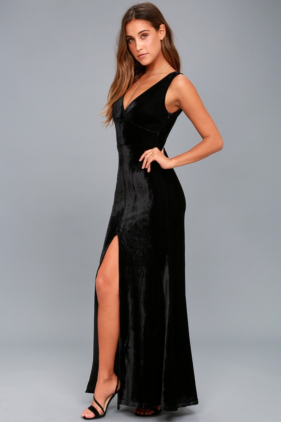 27cebd4f487 Sexy Black Maxi Dress - Velvet Maxi Dress - Sleeveless Maxi