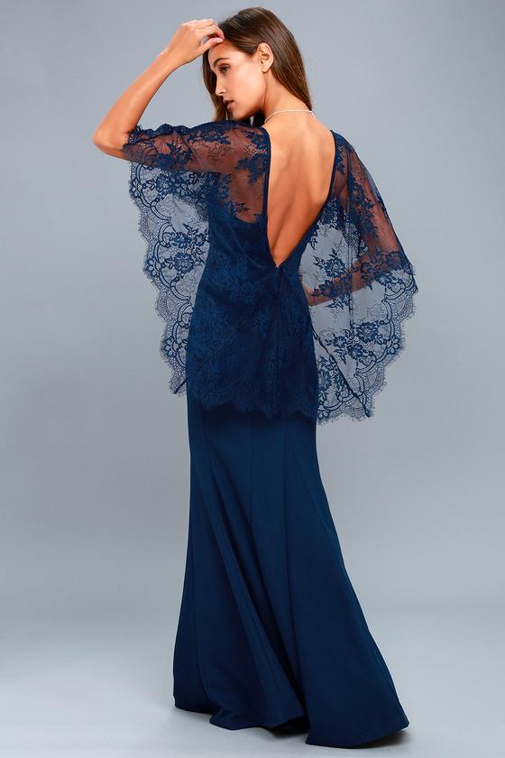 Lovely Navy Blue Maxi Dress Lace Dress Cape Dress