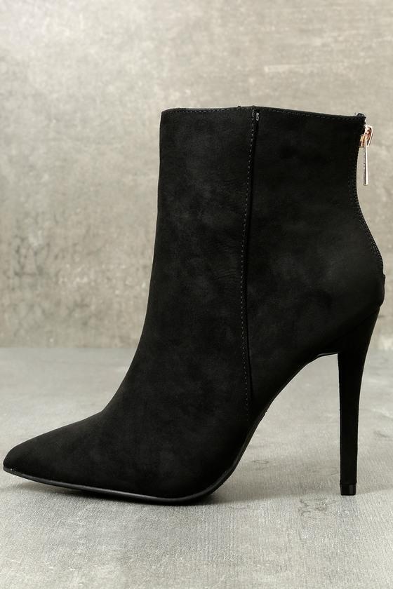 1f54bf224be Chic Stiletto Heel Booties - Black Vegan Suede Booties