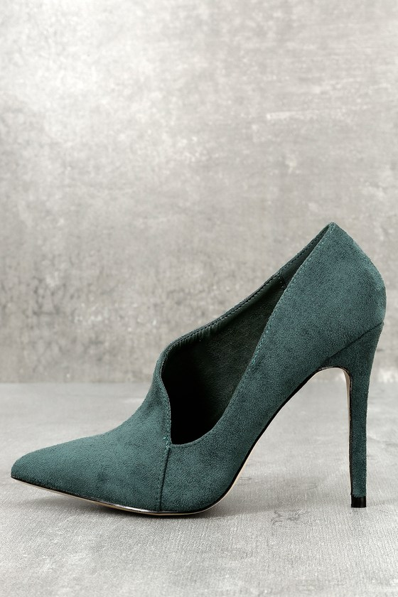 e476681ffc5 Chic D Orsay Pumps - Green Suede Pumps - Office Shoes
