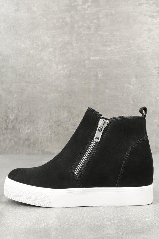 Wedgie Black Suede Leather Hidden Wedge Sneakers 2