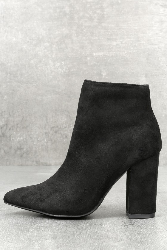 5ed36459cac7 Chic Black Suede Booties - High Heel Booties - Ankle Booties