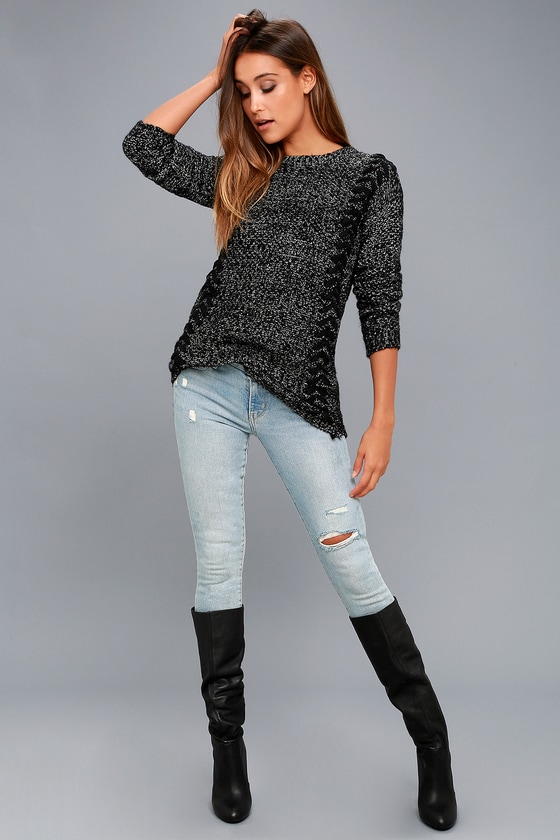 543826aad38 PPLA Pepper Sweater - Black and White Sweater - Sweater Top