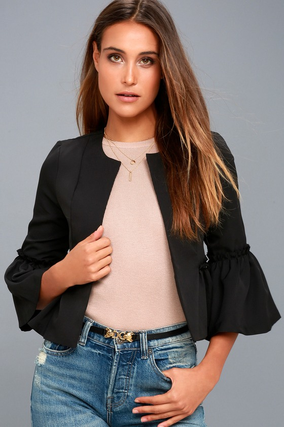 Forever Fancy Black Cropped Flounce Sleeve Jacket