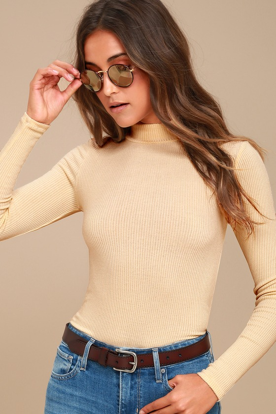 Lena Cream Ribbed Mock Neck Long Sleeve Top 1