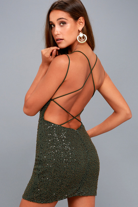 Nimah Olive Green Beaded Backless Dress 1