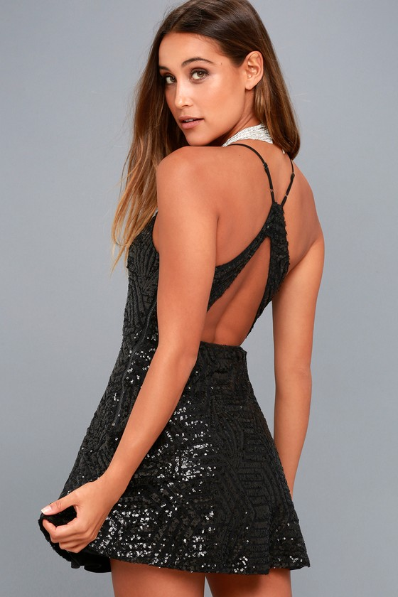 Serenade in the Night Black Sequin Skater Dress 2