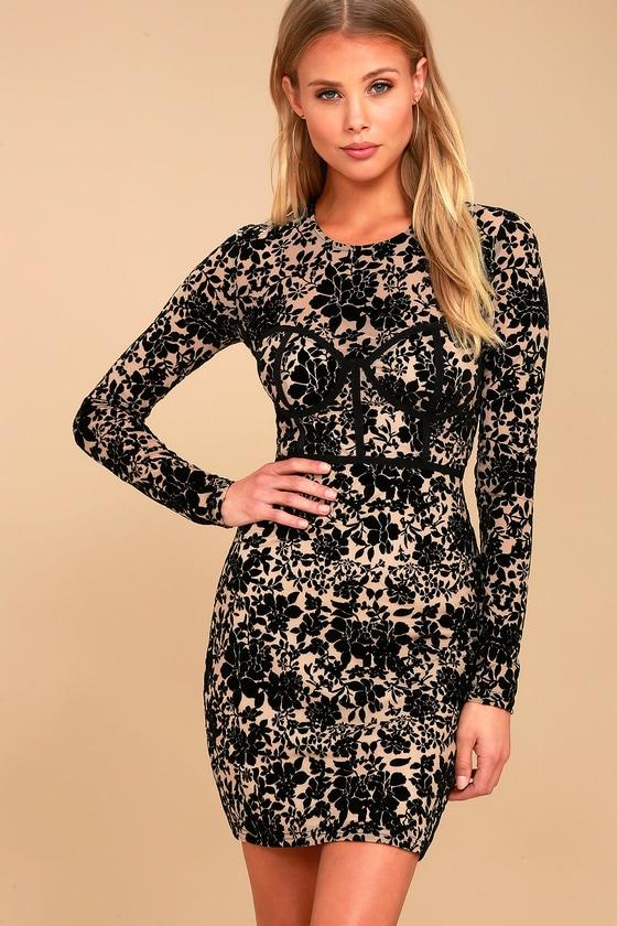 Cor-Set to Go Black and Nude Burnout Velvet Print Dress 4