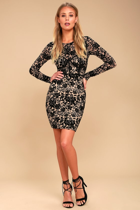 385908e4094 Cor-Set to Go Black and Nude Burnout Velvet Print Dress