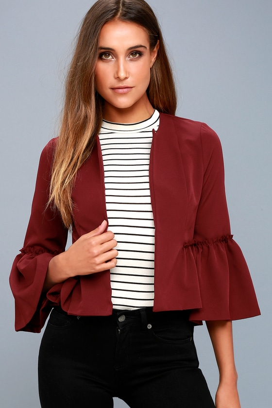 Forever Fancy Wine Red Cropped Flounce Sleeve Jacket 3
