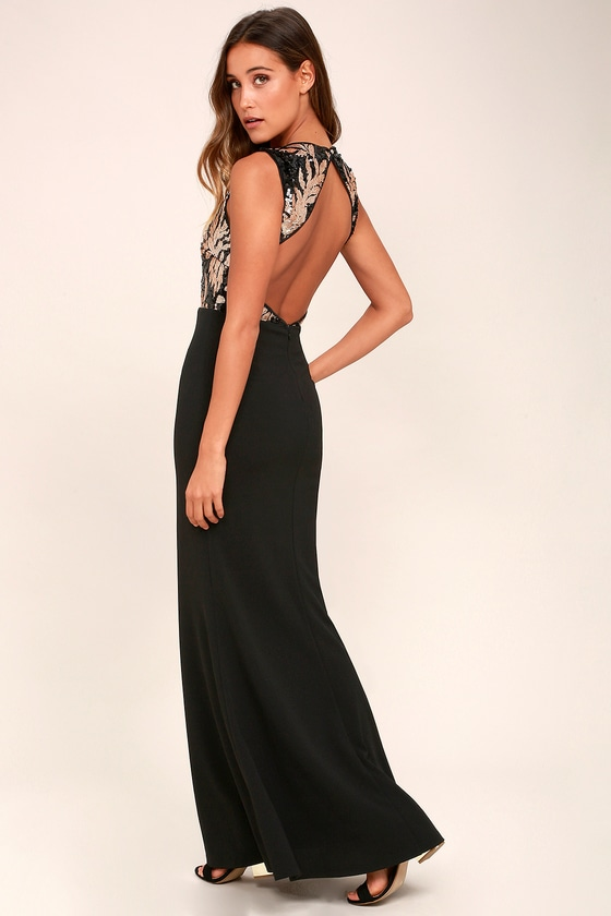 Gilded Glory Gold and Black Sequin Maxi Dress 3