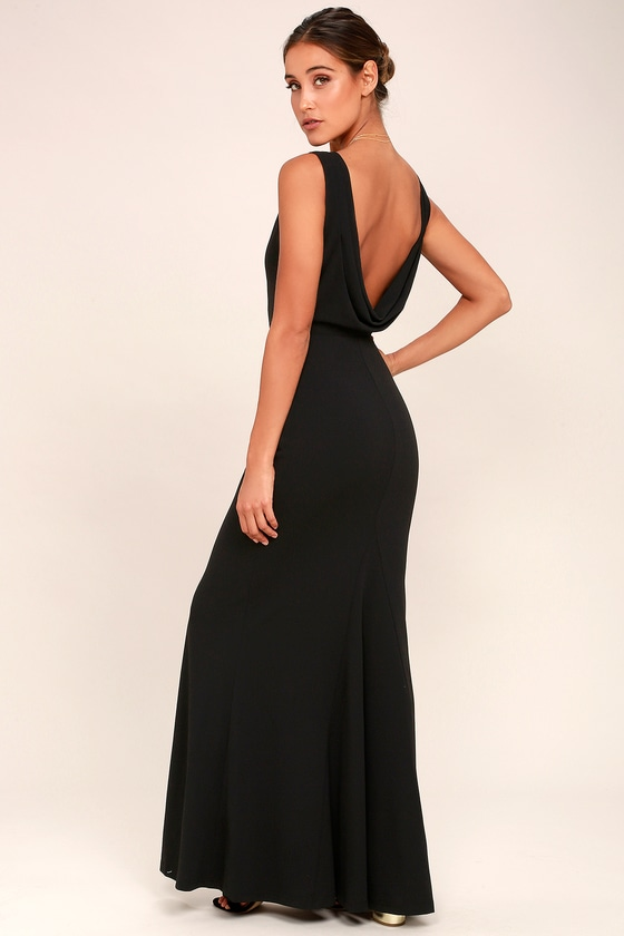 Into the Night Black Backless Maxi Dress