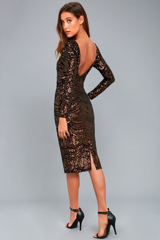 Emery Bronze Sequin Bodycon Midi Dress