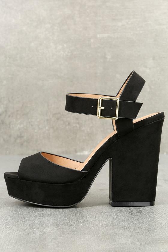 Cabaletta Black Suede Platform Heels