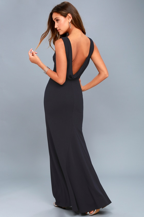 Into the Night Navy Blue Backless Maxi Dress