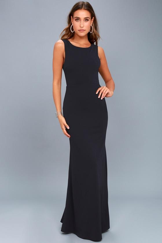 e832ef6113e Lovely Navy Blue Dress - Maxi Dress - Backless Dress