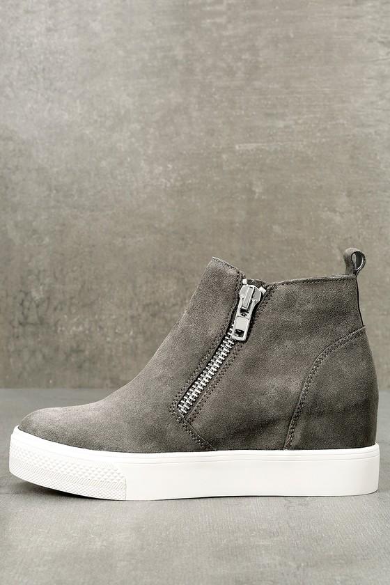 Wedgie Grey Suede Leather Hidden Wedge Sneakers 1