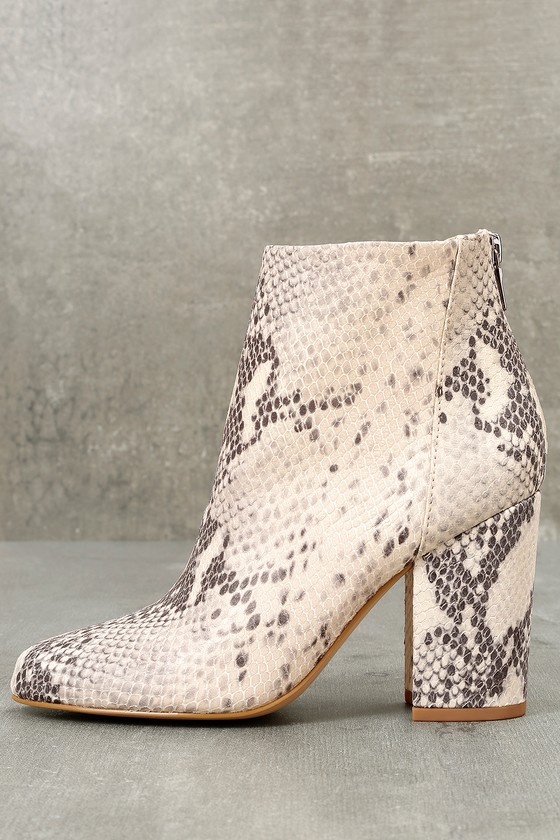 53da283c0bc Steve Madden Star - Snake Print Booties - Leather Booties