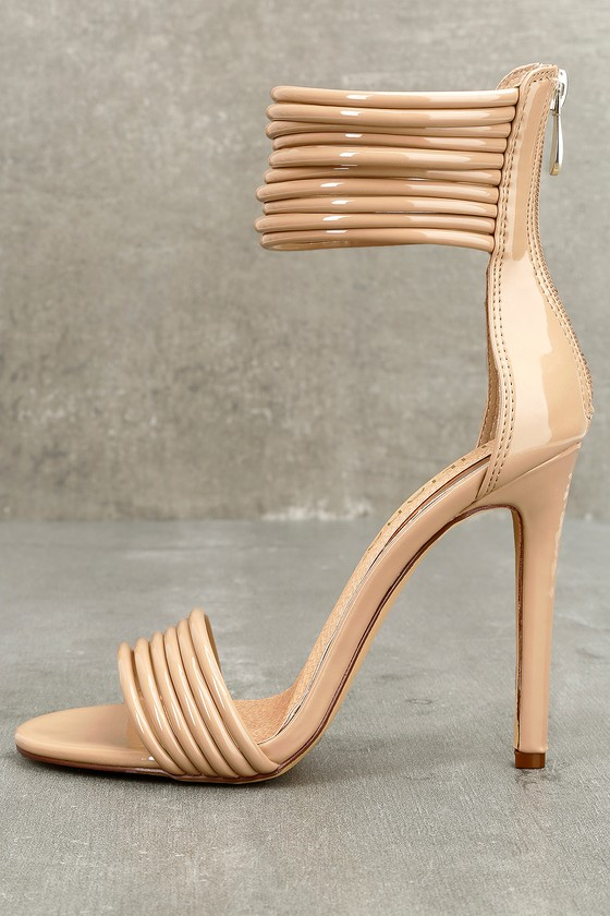 Hudson Nude Patent Ankle Strap Heels