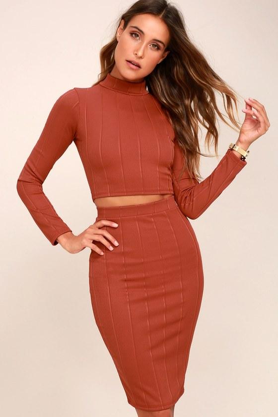 0a279c71a0edb Chic Rusty Rose Two-Piece Dress - Bodycon Midi Dress