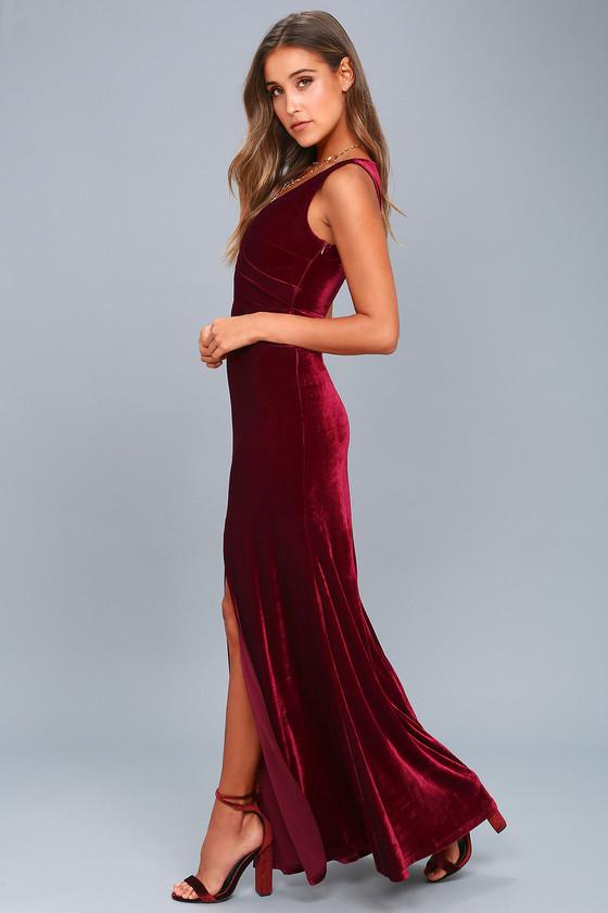 7a8f85ad920 Sexy Burgundy Maxi - Velvet Maxi Dress - Sleeveless Maxi
