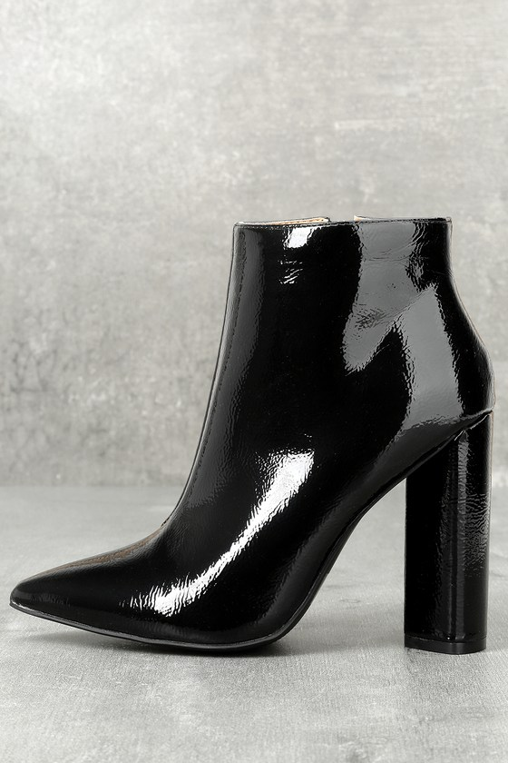 Saige Black Patent Ankle Booties 1