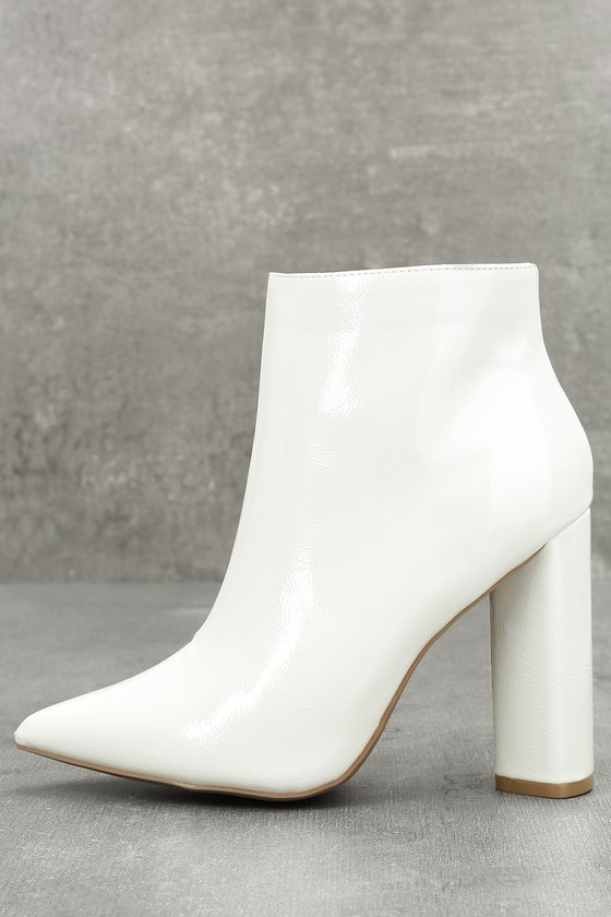 Chic Patent Booties White Booties High Heel Booties