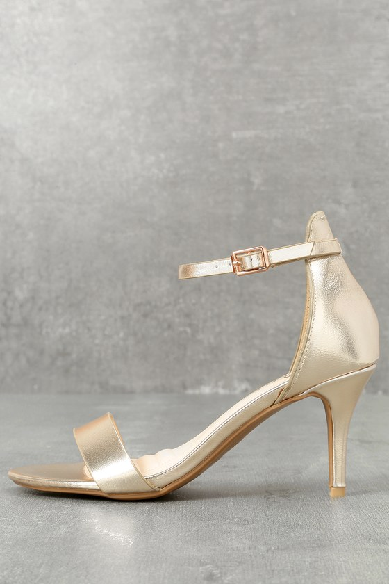 Published Author Gold Ankle Strap Heels