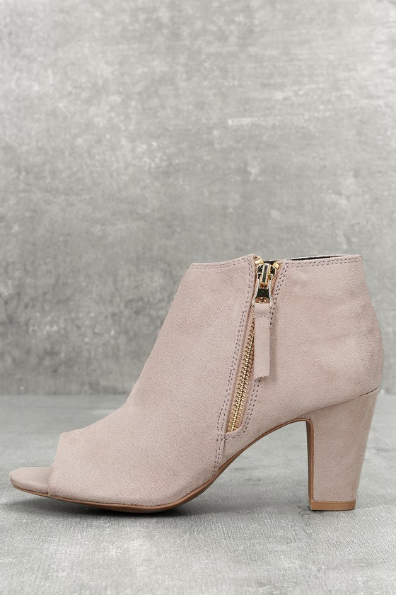 Milla Taupe Suede Peep Toe Ankle Booties 1