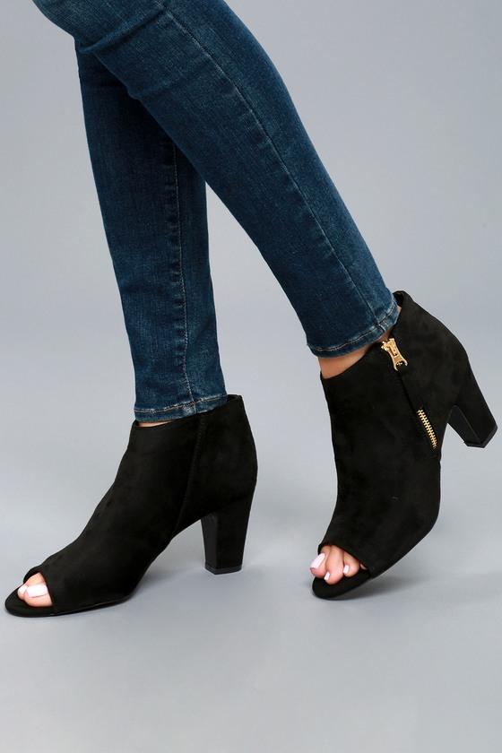 Milla Black Suede Peep Toe Ankle Booties 5