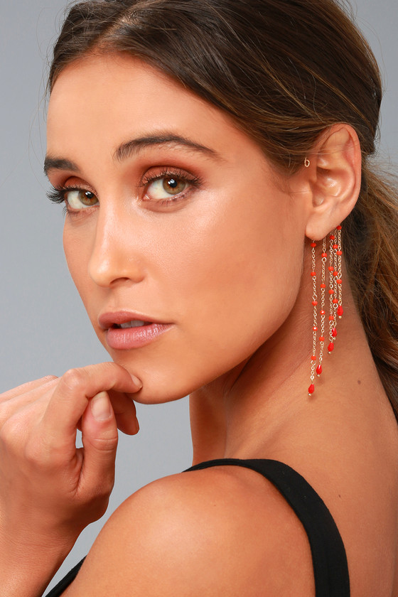 Wildly Passionate Orange and Gold Beaded Ear Cuffs