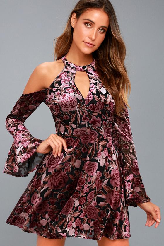 63dad1ebee6e Lovely Plum Purple Velvet Dress - Floral Print Skater Dress