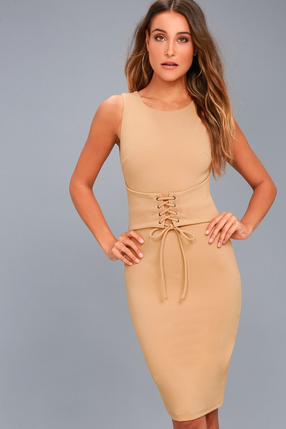 Say So Nude Lace-Up Bodycon Midi Dress 7