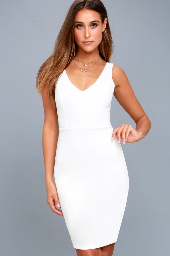 Skyline White Sleeveless Bodycon Dress 1