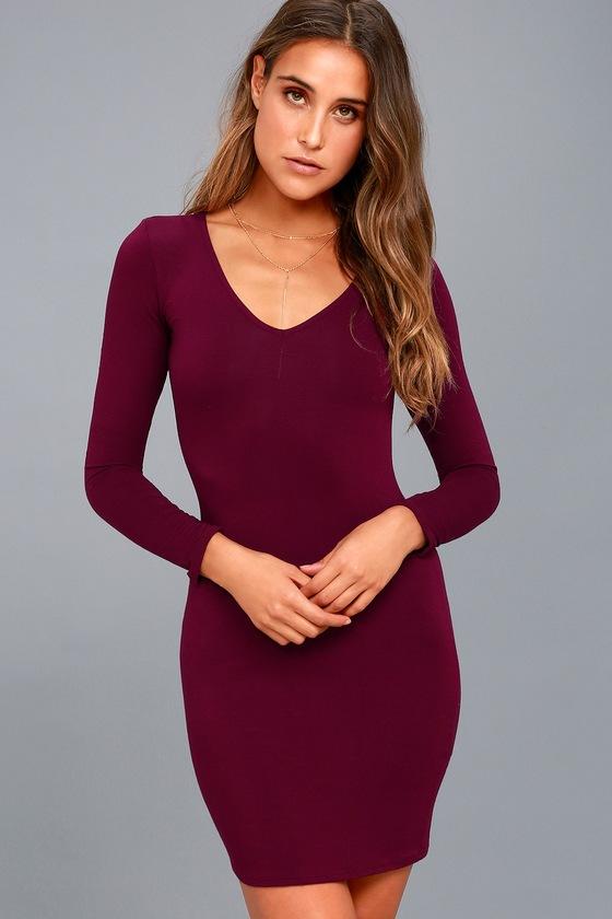 2a838ddc1b0b Cute Burgundy Dress - Long Sleeve Dress - Bodycon Dress