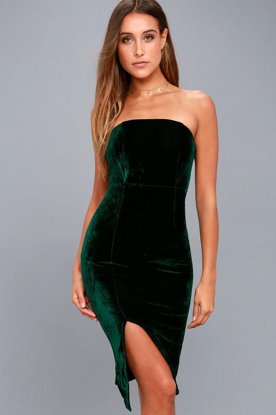 Hey Baby Forest Green Velvet Strapless Bodycon Midi Dress 6