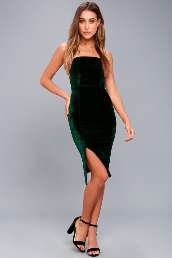 0b1531c4fb3 Sexy Forest Green Dress - Bodycon Dress - Strapless Dress