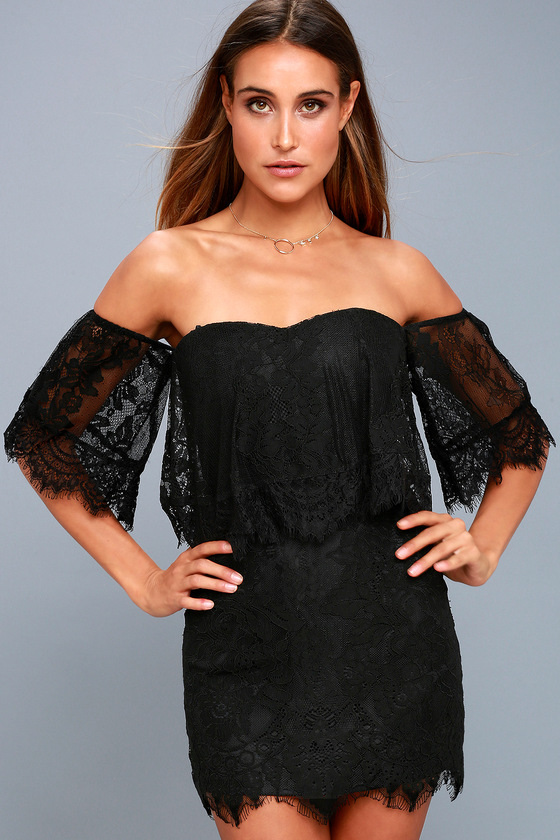 Be My Sweetheart Black Lace Off-the-Shoulder Bodycon Dress 6