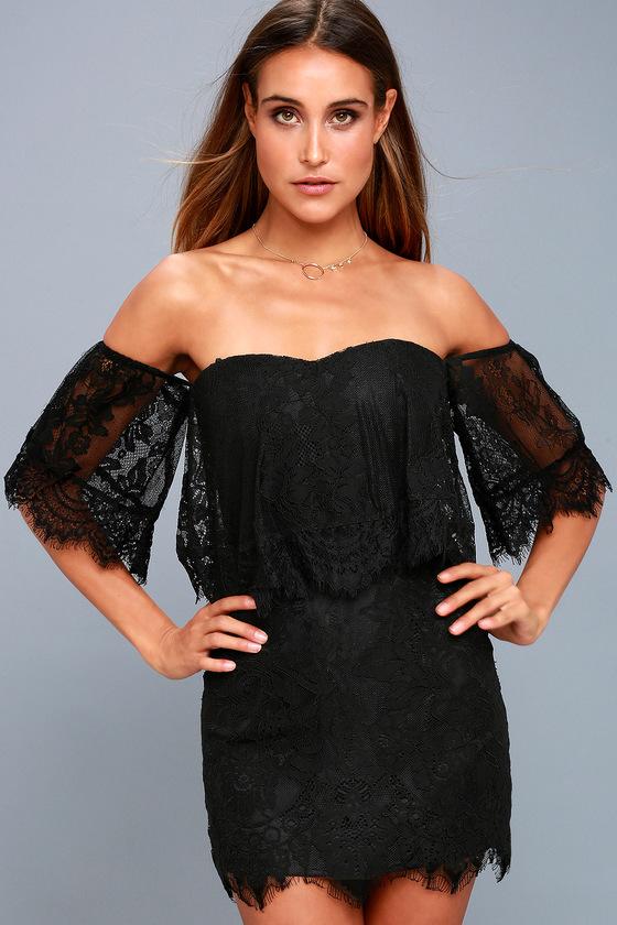 4d6d2e0fa91b Cute Black Lace Dress - Off-the-Shoulder Bodycon Dress