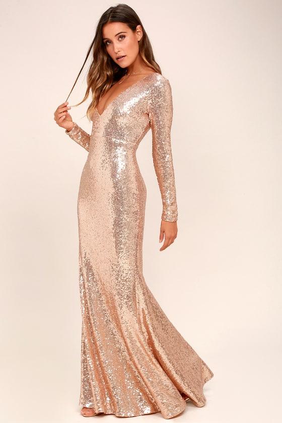 6fbf62214e0fc Capture the Moon Rose Gold Long Sleeve Sequin Maxi Dress