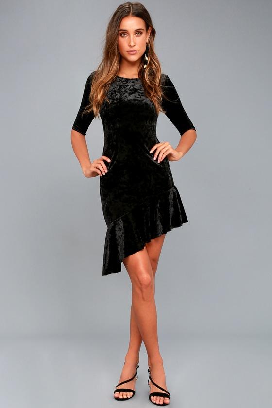 e85d67be0a Cute Black Dress - Velvet Dress - Bodycon Dress