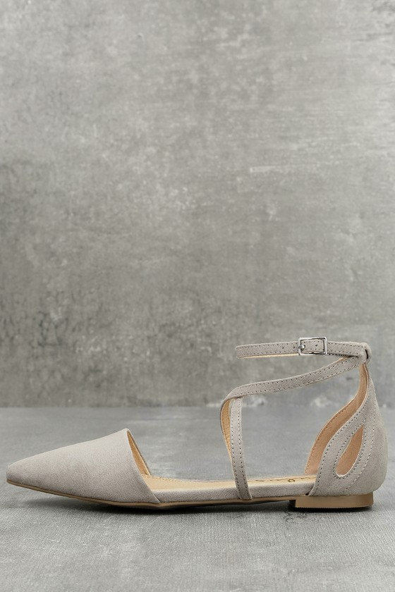 Rayna Grey Suede Pointed Flats 2