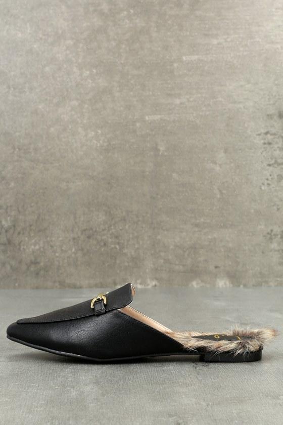 Antonia Black Faux Fur Loafer Slides 3