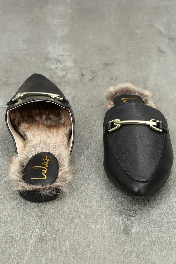 Antonia Black Faux Fur Loafer Slides 4