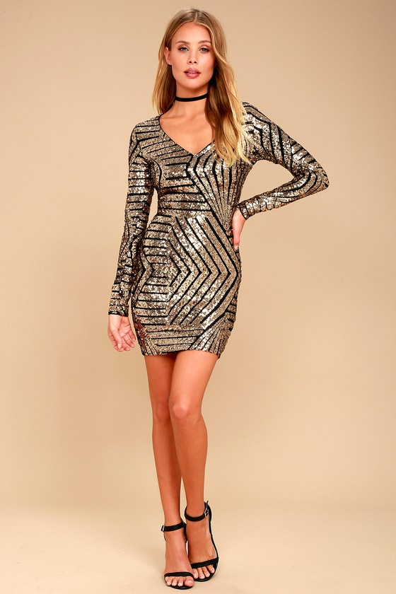 a84fbb5abf0 Sexy Sequin Dress - Black and Gold Dress - Long Sleeve Dress