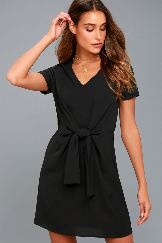 Belong to the City Black Knotted Shift Dress 1
