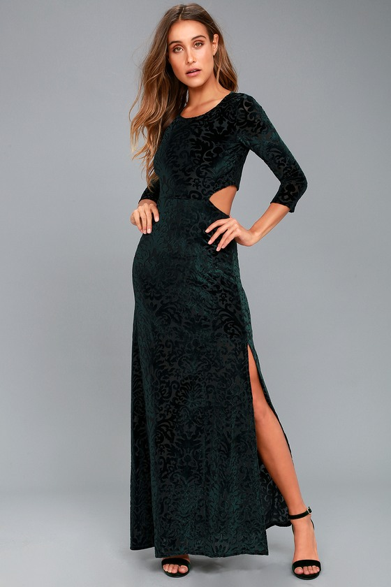 Perfect Night Forest Green Velvet Print Maxi Dress 1