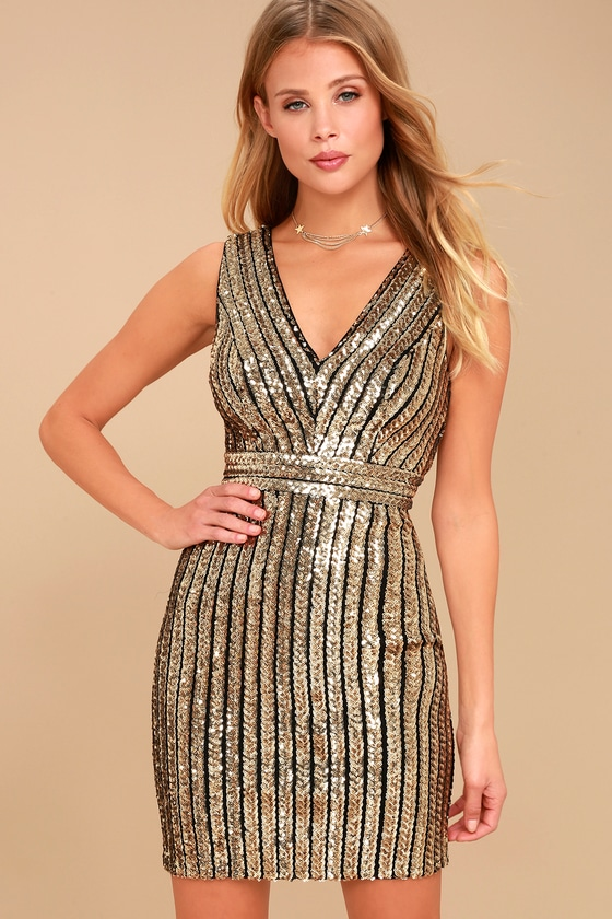 Marquee Lights Gold Sequin Backless Bodycon Dress